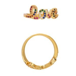 18k gold plated love ring size 6